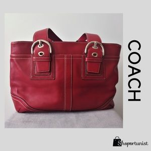 Coach Large Soho Red Buckle Carryall Tote